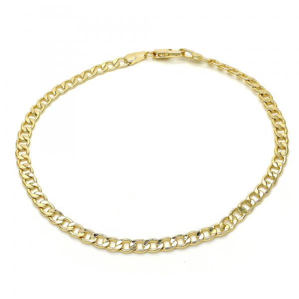 Gold Layered 03.63.1845.10 Basic Anklet, Curb Design, Polished Finish, Golden Tone