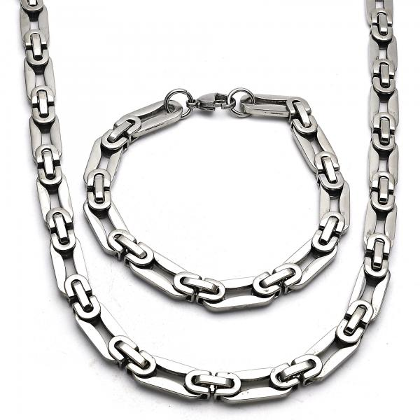 Stainless Steel 06.116.0016 Necklace and Bracelet, Polished Finish, Steel Tone