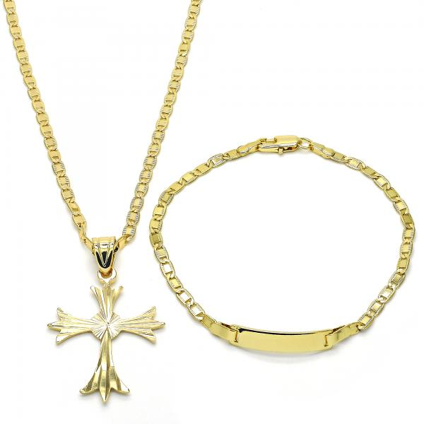 Gold Layered 06.63.0184 Necklace and Bracelet, Cross Design, Diamond Cutting Finish, Golden Tone