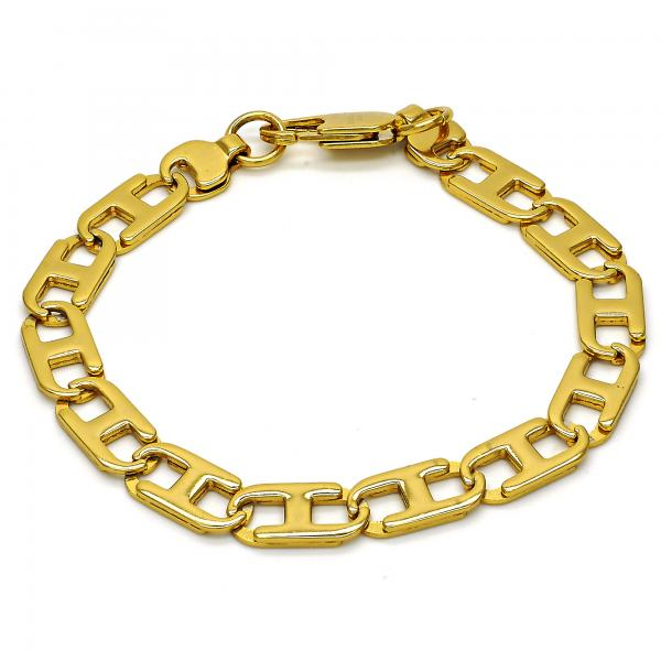 Stainless Steel 04.256.0005.08 Basic Bracelet, Mariner Design, Polished Finish, Golden Tone