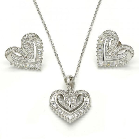 Sterling Silver 10.286.0009 Earring and Pendant Adult Set, Heart Design, with White Cubic Zirconia, Polished Finish, Rhodium Tone