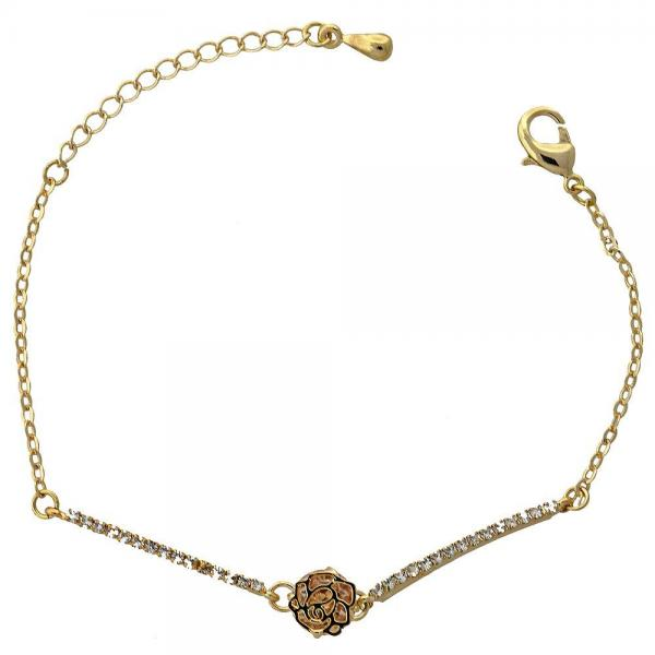 Gold Layered 03.171.0006 Fancy Bracelet, Flower Design, with  Cubic Zirconia, Golden Tone