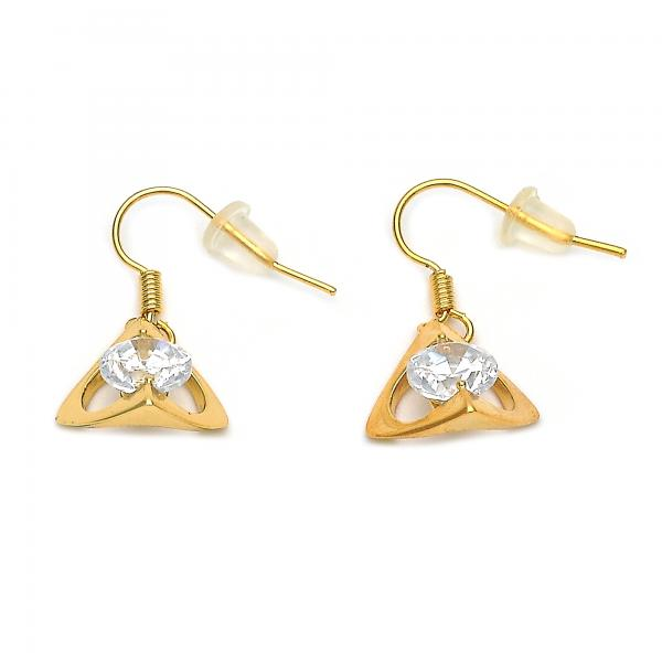 Gold Layered 02.171.0051 Dangle Earring, Heart Design, with White Cubic Zirconia, Golden Tone
