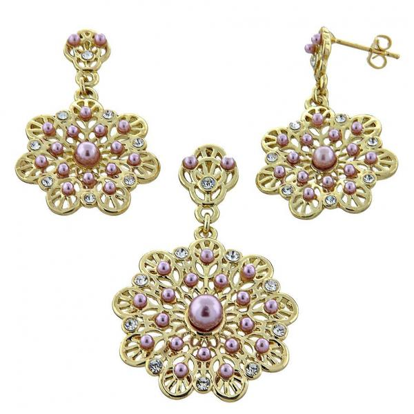 Gold Layered 10.91.0102.1 Earring and Pendant Adult Set, with Rhodolite Pearl and  Crystal, Polished Finish, Golden Tone