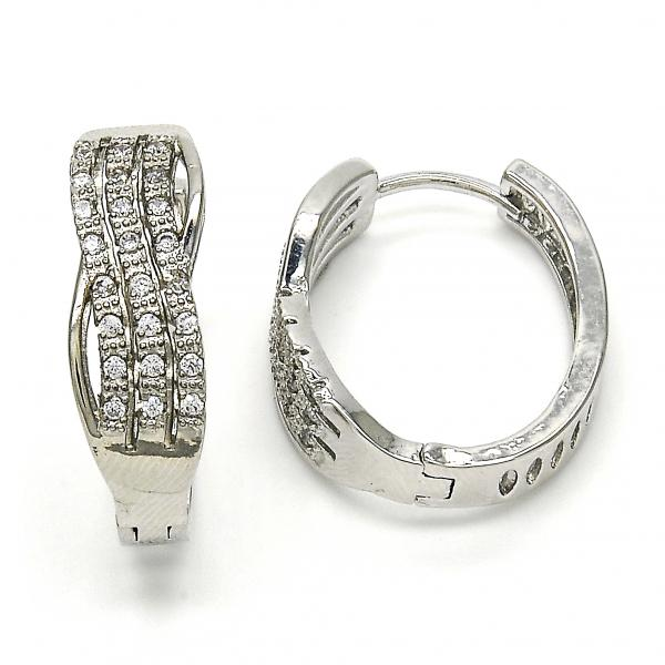 Gold Layered 02.267.0039.20 Huggie Hoop, with White Micro Pave, Polished Finish, Rhodium Tone