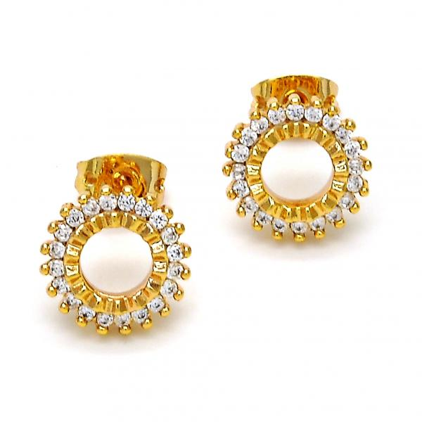 Gold Layered 02.213.0021 Stud Earring, with White Cubic Zirconia, Polished Finish, Golden Tone