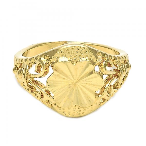 Gold Layered Elegant Ring, Flower and Filigree Design, Golden Tone
