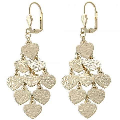 Gold Layered 02.63.2202 Chandelier Earring, Heart Design, Diamond Cutting Finish, Golden Tone