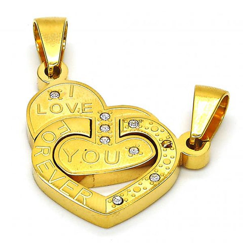 Stainless Steel 05.303.0002 Fancy Pendant, Heart and Love Design, with White Crystal, Polished Finish, Golden Tone