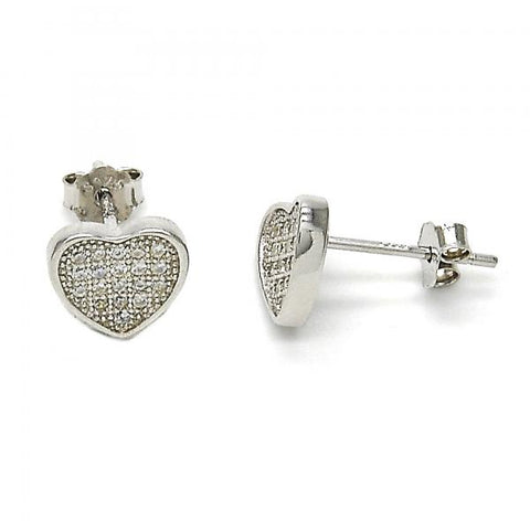Sterling Silver 02.286.0017 Stud Earring, Heart Design, with White Micro Pave, Polished Finish, Rhodium Tone