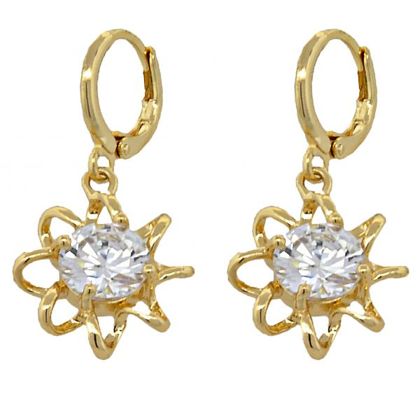 Gold Layered 02.196.0013 Dangle Earring, Flower and Twist Design, with White Cubic Zirconia, Polished Finish, Golden Tone