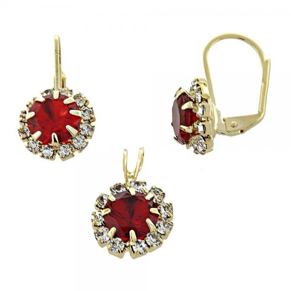 Gold Layered 5.057.012 Earring and Pendant Adult Set, with  Cubic Zirconia, Golden Tone