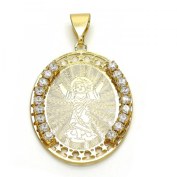 Gold Layered 05.253.0040 Religious Pendant, Divino Niño and Star Design, with White Crystal, Polished Finish, Golden Tone