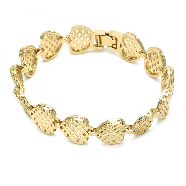 Gold Layered 03.63.1530.07 Fancy Bracelet, Heart Design, Diamond Cutting Finish, Golden Tone