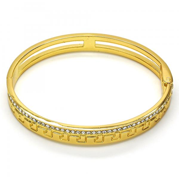 Gold Layered 07.252.0035.04 Individual Bangle, Greek Key Design, with White Crystal, Polished Finish, Golden Tone (08 MM Thickness, Size 4 - 2.25 Diameter)