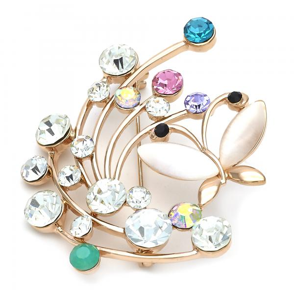 Gold Layered 13.181.0023 Basic Brooche, Butterfly Design, with Rose Opal and Multicolor Crystal, Polished Finish, Golden Tone