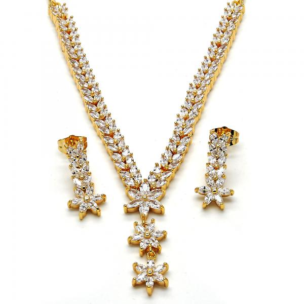 Gold Layered 06.236.0008 Necklace and Earring, Flower and Leaf Design, with White Cubic Zirconia, Polished Finish, Golden Tone