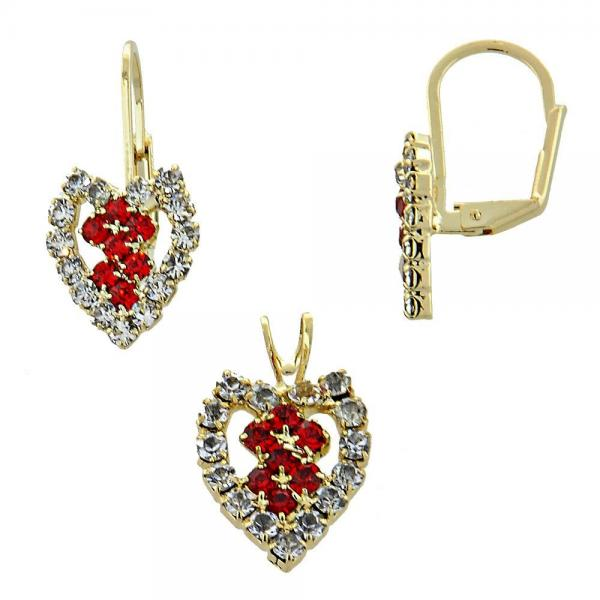 Gold Layered 5.056.012 Earring and Pendant Adult Set, Heart Design, with  Cubic Zirconia, Golden Tone