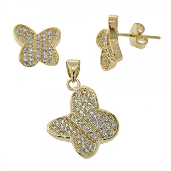 Gold Layered 10.166.0003 Earring and Pendant Adult Set, Butterfly Design, with White Micro Pave, Polished Finish, Golden Tone