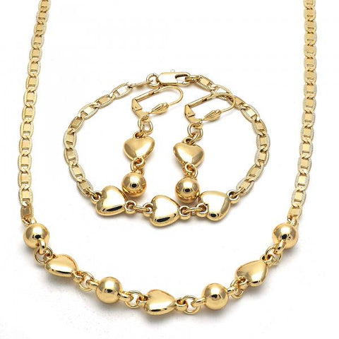 Gold Layered 06.63.0219 Necklace, Bracelet and Earring, Heart Design, Polished Finish, Golden Tone