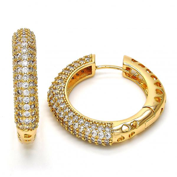 Gold Layered 02.213.0015.35 Huggie Hoop, with White Cubic Zirconia, Polished Finish, Gold Tone
