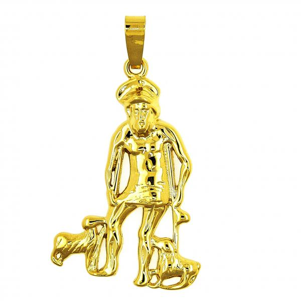 Gold Layered 5.185.016 Religious Pendant, Dog and San Lazaro Design, Polished Finish, Golden Tone