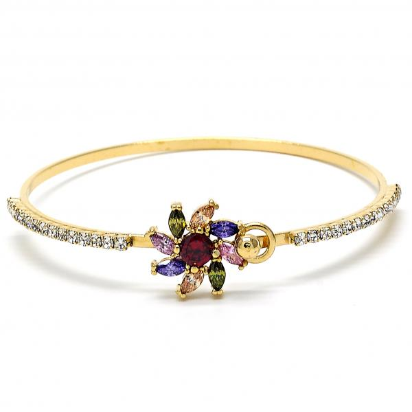 Gold Layered 07.97.0030 Individual Bangle, Flower Design, with Multicolor Cubic Zirconia and White Crystal, Polished Finish, Golden Tone (05 MM Thickness, Size 5)