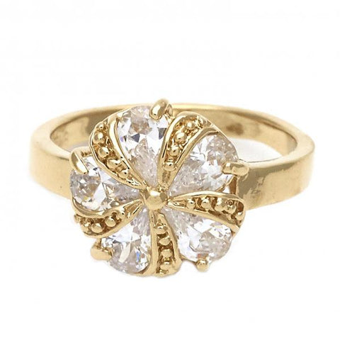 Gold Layered Elegant Ring, Flower Design, with Cubic Zirconia, Golden Tone