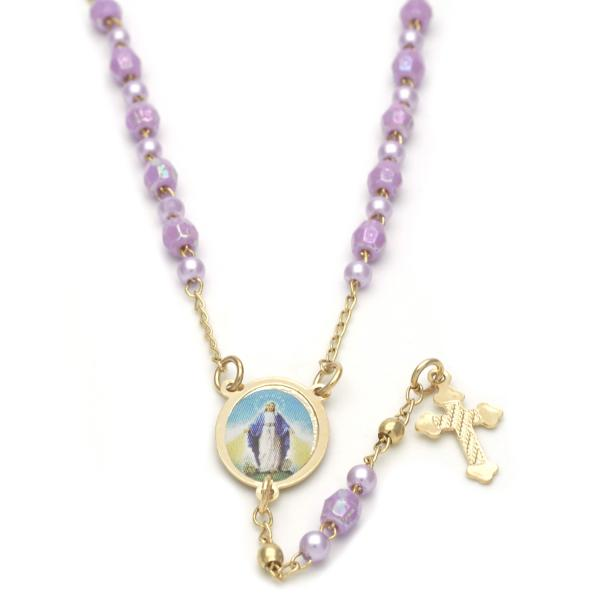 Gold Layered 09.02.0027.18 Thin Rosary, Medalla Milagrosa and Cross Design, with Violet Crystal, Polished Finish, Golden Tone