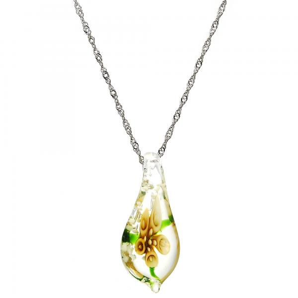 Gold Tone 04.276.0019.18.GT Fancy Necklace, Flower Design, with White Azavache, Polished Finish, Rhodium Tone