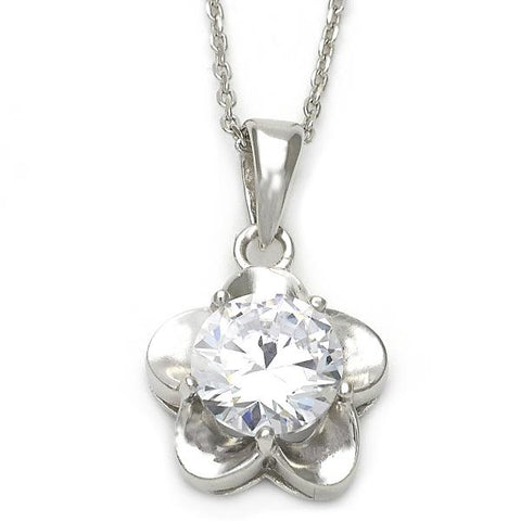 Sterling Silver 10.174.0140.18 Fancy Necklace, Flower Design, with White Cubic Zirconia, Polished Finish, Silver Tone