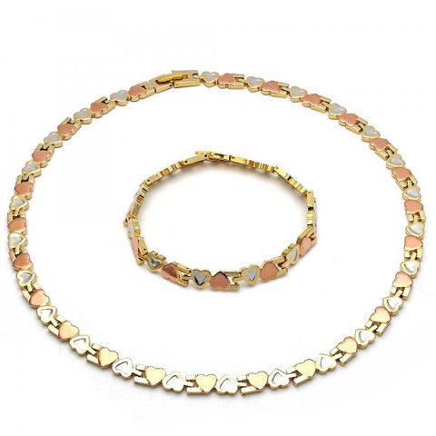 Gold Layered 06.102.0006 Necklace and Bracelet, Hugs and Kisses and Heart Design, Polished Finish, Tri Tone