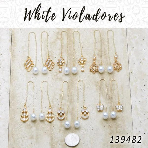 35 White Violador Threader Earrings in Gold Layered ($2.85) ea