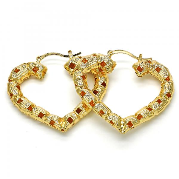Gold Layered 02.170.0211.50 Large Hoop, Heart and Hollow Design, Polished Finish, Golden Tone