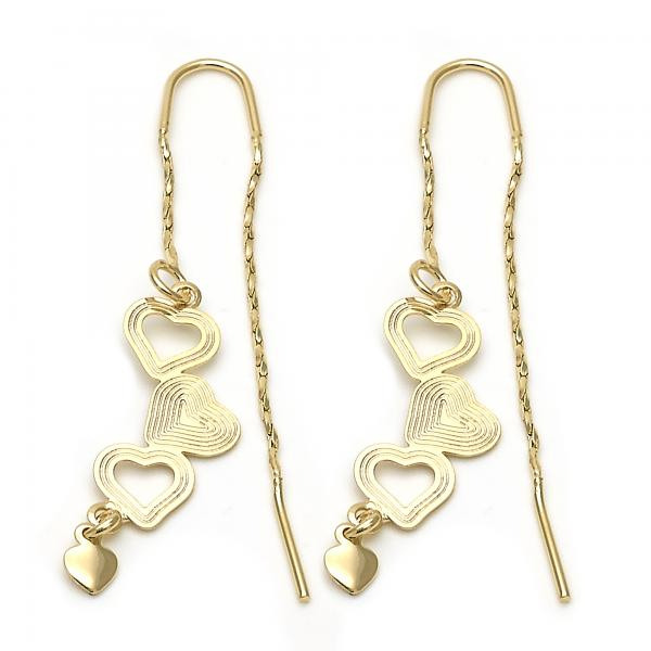 Gold Layered 02.02.0430 Threader Earring, Heart Design, Diamond Cutting Finish, Golden Tone