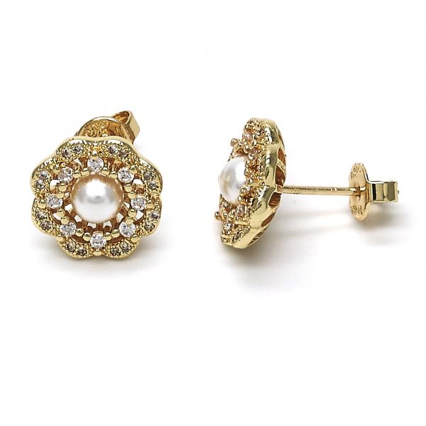 Gold Layered 02.156.0217 Stud Earring, Flower and Ball Design, with Ivory Pearl and White Cubic Zirconia, Polished Finish, Golden Tone