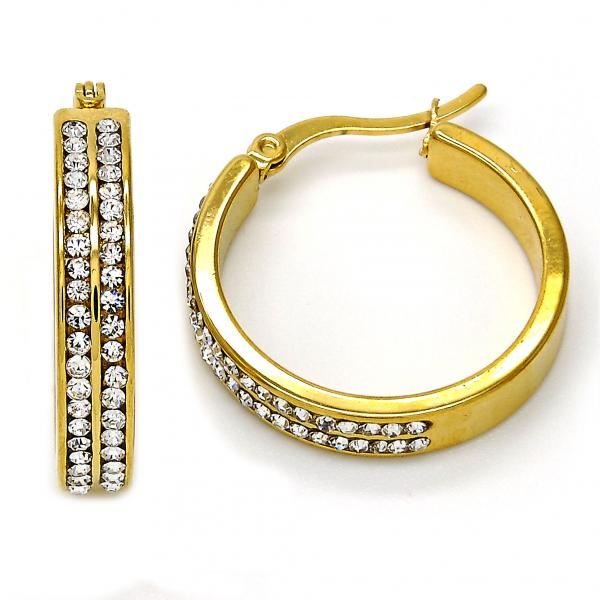 Stainless Steel Small Hoop, with Crystal, Golden Tone