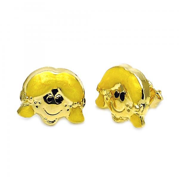 Gold Layered 02.16.0099 Stud Earring, Little Girl Design, Yellow Enamel Finish, Golden Tone