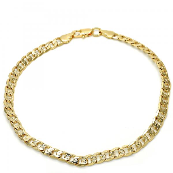 Gold Layered 04.63.1367.10 Basic Anklet, Pave Cuban Design, Polished Finish, Golden Tone
