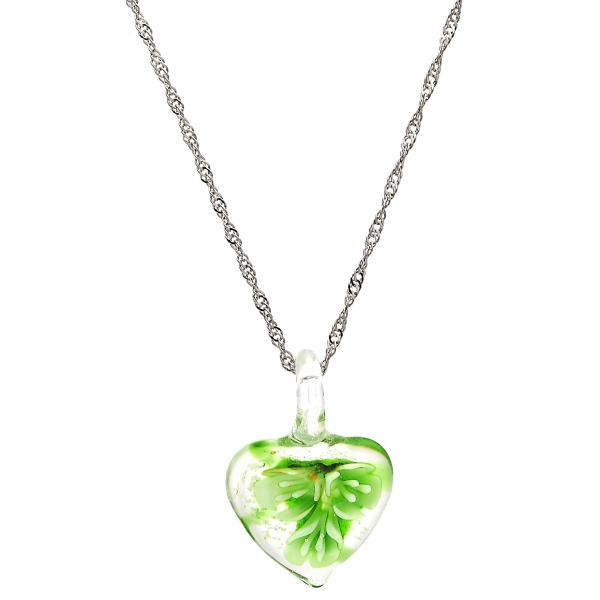 Gold Tone 04.276.0009.18.GT Pendant Necklace, Heart and Flower Design, with Green Azavache, Polished Finish, Rhodium Tone