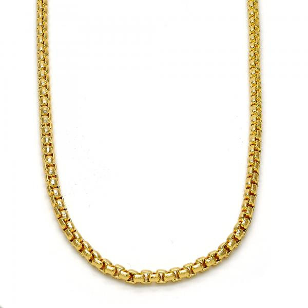 Gold Layered 04.242.0085.30 Basic Necklace, Box Design, Polished Finish, Golden Tone