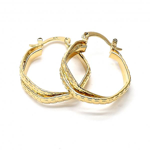 Gold Layered 5.146.014 Small Hoop, Twist Design, Diamond Cutting Finish, Golden Tone