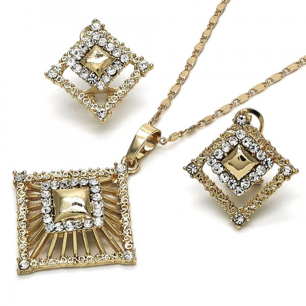 Gold Layered 10.306.0004 Earring and Pendant Adult Set, with White Crystal, Polished Finish, Golden Tone