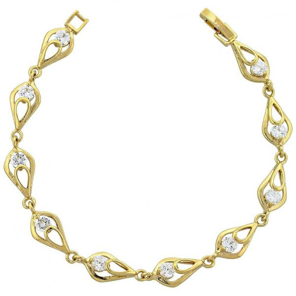 Gold Layered 5.055.011 Fancy Bracelet, with White Cubic Zirconia, Polished Finish, Golden Tone