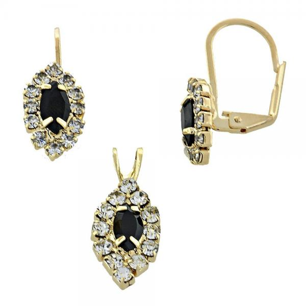 Gold Layered 5.058.013 Earring and Pendant Adult Set, with  Cubic Zirconia, Golden Tone