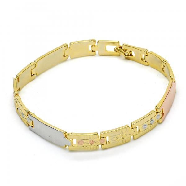 Gold Layered 03.102.0045.08 Solid Bracelet, Polished Finish, Tri Tone