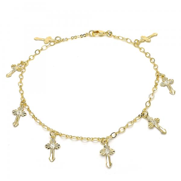 Gold Layered 03.63.1851.10 Charm Anklet , Cross Design, Polished Finish, Golden Tone