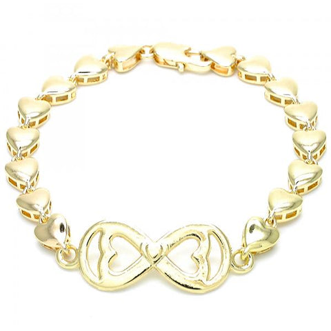 Gold Layered 03.63.1856.07 Fancy Bracelet, Infinite and Heart Design, Polished Finish, Golden Tone