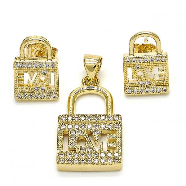 Gold Layered 10.199.0062 Earring and Pendant Adult Set, Lock and Love Design, with White Micro Pave, Polished Finish, Golden Tone