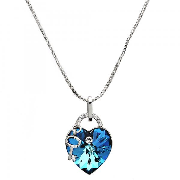Rhodium Plated 04.239.0015.16 Pendant Necklace, Heart and key Design, with Bermuda Blue Swarovski Crystals and White Micro Pave, Polished Finish, Rhodium Tone